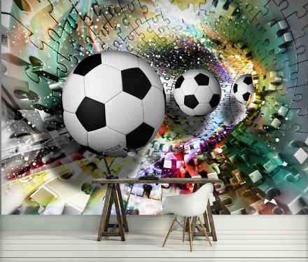 Photo wallpaper Colorful Puzzle Football